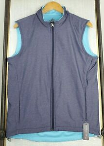 NEW-PETER-MILLAR-Carthage-Size-Small-Reversible-Full-Zip-Blue-Mens-Vest-145-NWT