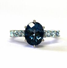 10k white gold womens oval blue topaz ring 3.3g ladies estate vintage antique