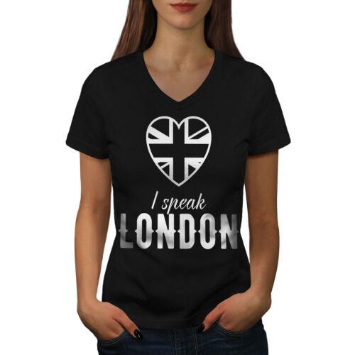 Wellcoda Speak British UK London Womens V-Neck T-shirt UK Graphic Design Tee