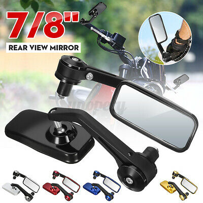 One Pair Universal Motorcycle Rearview Mirror Rectangular Aluminum Alloy Mirror Approx 180mm