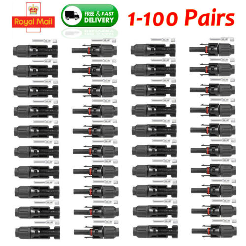 1-100 Pairs MC4 Solar Panel Connector Branch Splitters Cable Male Female Set UK