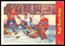 1955 56 PARKHURST HOCKEY IA 69 HUGH BEATS CHARLIE HODGE EX-NM MONTREAL CANADIENS
