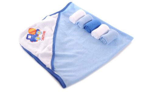 Honey Baby Boys Hooded Towel /& 5-Pack Washcloth BRAND NEW!!!!!