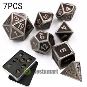7Pcs//set Vintage Bronze Metal Polyhedral Dice DND RPG MTG Role Playing Game Toy
