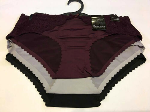 Kathy Ireland Intimates 3-pack Hipsters Panty Burgundy Gray Black M or L BU31318