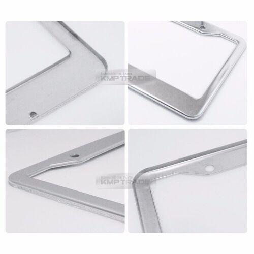 License Plate Stainless Chrome Silver Frame Hairline Logo Emblem 2P for Santa Fe