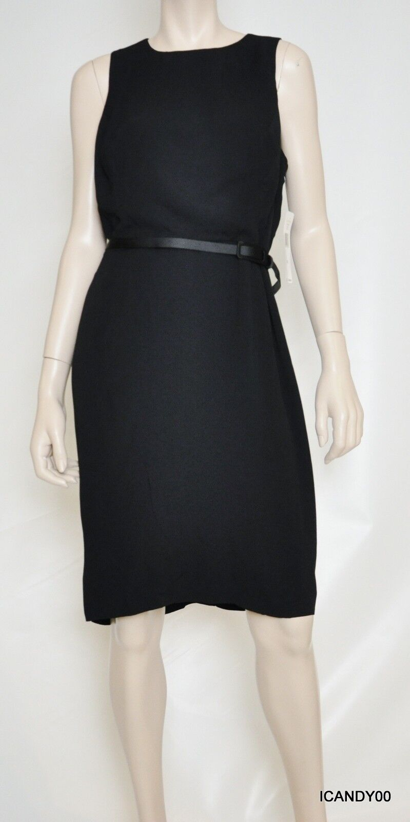 Nwt  Ralph Lauren Belted Sleeveless Knee-Length Dress Top schwarz 14