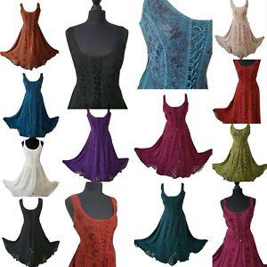 Midi-Corset-Boho-Dress-Pagan-Lace-up-Bridesmaid-Party-10-12-14-16-18-20-22-24