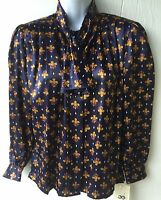 Koret Petite Blue Polyester Blouse Top Tie Padded Shoulders Hidden Buttons 4