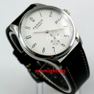 42mm parnis white dial date window black leather strap automatic mens watch P09