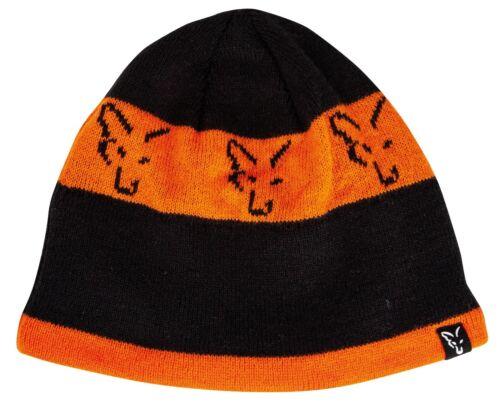 Fox Black and Orange Beanie Hat NEW Carp Fishing Winter Hat CPR993