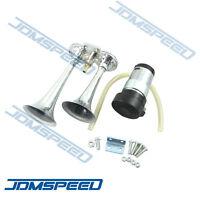 12v Chrome Dual Trumpet Compact Air Horn Compressor 135db 12 Volt Car Truck