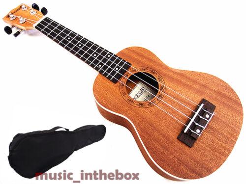 "Great Sound 21/"" Mahogany with Ivory Inlaid Wooden Soprano Ukulele /& Carrying Bag"