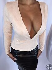 Connie's Faux Suede Long Sleeved Blouse Deep V Plunge Beige Top S