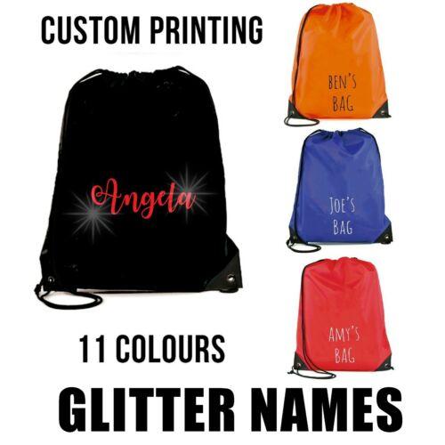 Personalised Glitter Letter Fancy Print  Swimming PE Bag Printed Customised Name