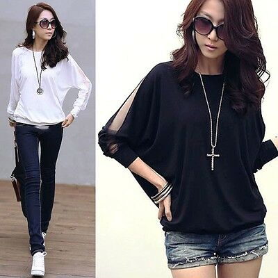 Sexy Women's Clothing Batwing Tops T-shirt Blouse Black White Size S-XL