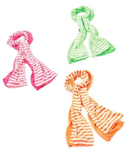 Due Pezzi Neon Motivo a Righe e Sciarpa semplice combinazione Set Arancione Rosa Verde