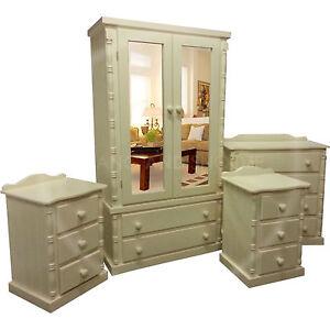 Handmade diana solid pine 4 piece bedroom set ivory for Diana bedroom set