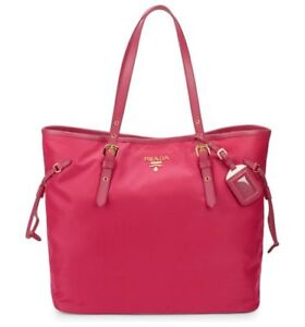67da89739da7 100% AUTHENTIC NEW PRADA NYLON   LEATHER PINK TOTE HANDBAG PURSE ...