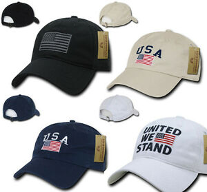 USA American Flag United We Stand Gadsden Baseball Caps Hats Washed Cotton Polo