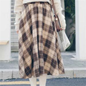 Büro Damen Rock Kunst Wolle Midi Kleid Retro Patchwork A Line Winter Herbst
