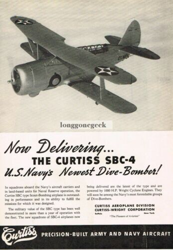 1939 Curtiss US Navy SBC4 Dive Bomber BiPlane Vtg Print Ad