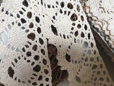 "Vintage Style 2/""//5cm Deep Cream and Ecru Cotton Crochet Lace Trim.Sewing//Crafts"