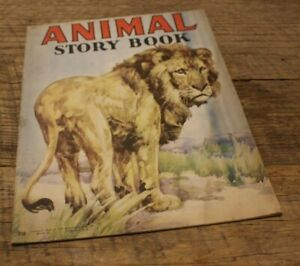 Antique-Vtg-Childs-Book-Animal-Story-The-Saalifield-Pub-Co-1943