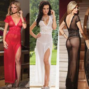 Women-039-s-Hot-Lingerie-Lace-Dress-Babydoll-Sleepwear-Underwear-G-String-Nightwear