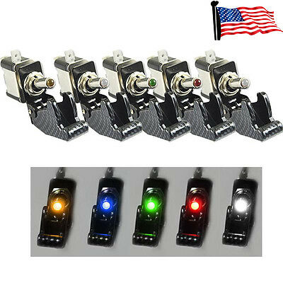 Pro 5Pcs 12V 20A Car Truck Carbon Fiber LED Light Toggle Switch SPST 5 Colors US