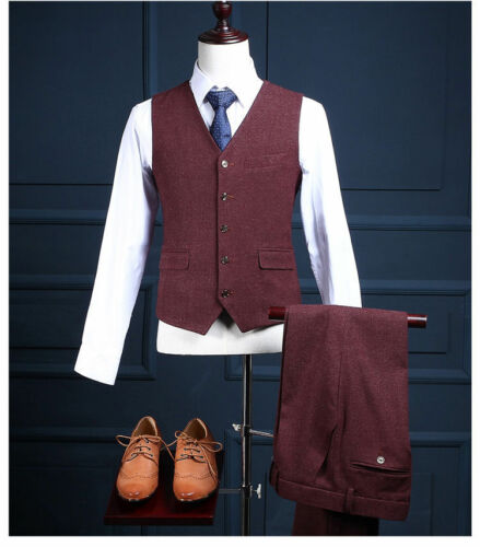 Mens Burgundy Blend Tweed Formal Business Prom Waistcoat Slim Tailored Fit Vests