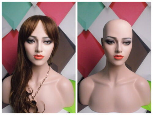 Skintone Female Fiberglass Mannequin Head Bust For Wig Jewelry And Hat Display