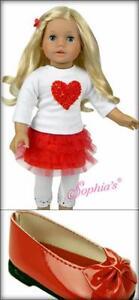 18-034-American-Doll-Size-4-pc-Set-Valentine-LOVE-Heart-Tulle-Skirt-Leggings-Girl