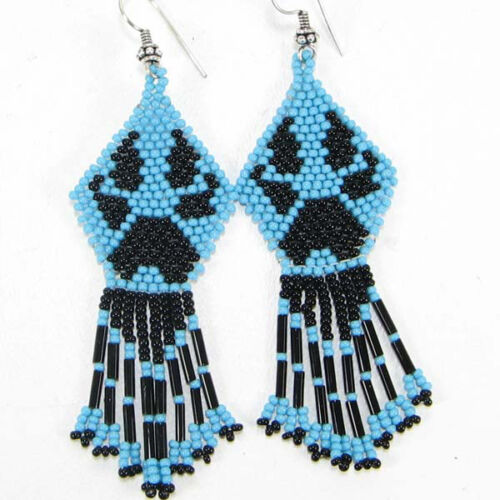 NEW BLACK  BLUE BEADED BEAR PAW HANDCRAFTED NATIVE STYLE FASHION HOOK EARRINGS
