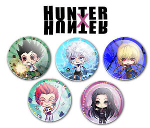 hunter x hunter buttons pins hxh anime chibi gon killua kurapika