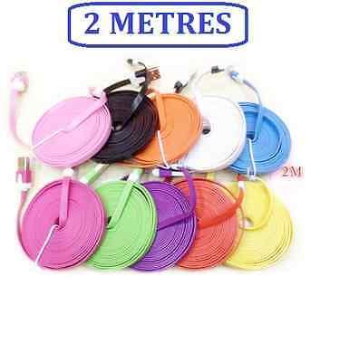 Cable plat chargeur usb couleur pour iPhone 5 5s 6 et 6plus IOS 9 10- 2 metre