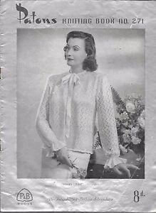 Patons Vintage Knitting Pattern Book 271 Ladies Baby Beehive