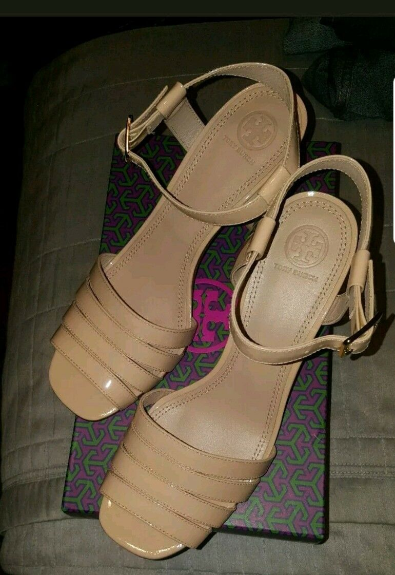 NEW Tory Burch Patent Leather BEIGE thick thick thick Heel open toe sz 10 cf294c