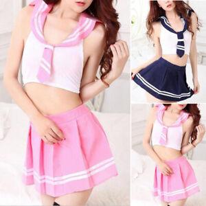 Ladies-School-Girl-Sailor-Fancy-Skirt-Dress-Costume-Uniform-Womens-Sexy-Gift-Top