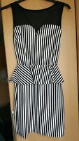 Laides Quiz size 12 white black striped peplum dress net upper BNWOT