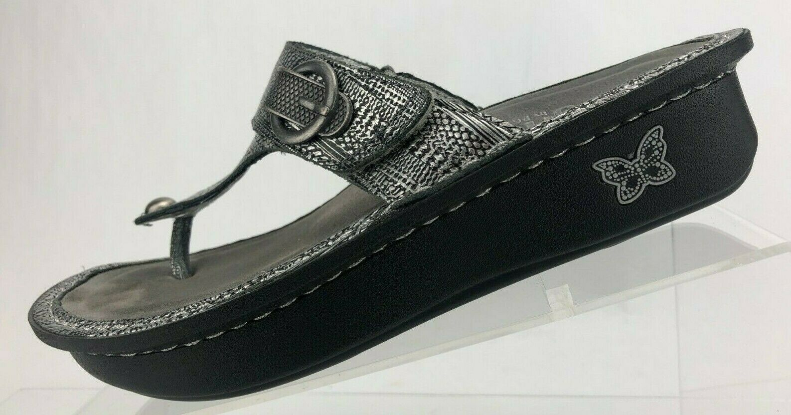 Alegria Carina Sandals Chain Mail Silver Leather Thong shoes Womens 36 US 6 6.5