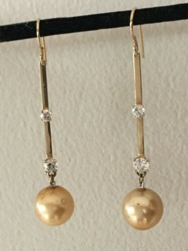 Golden 14kt. South Sea Pearl with Diamond Dangling