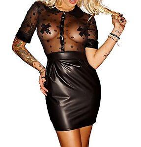 Latex-Look-Faux-Black-Dress-See-Through-Polka-Dot-Mesh-Top-Collar