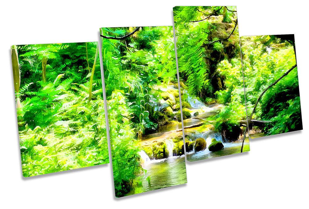 verde foresta paesaggio fluviale incorniciato Multi stampa stampa stampa art. a muro b59e41