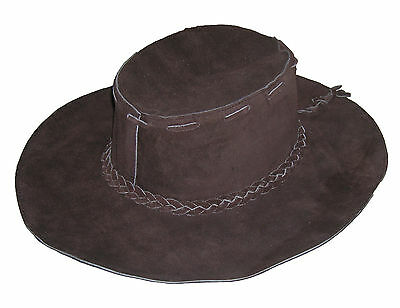 Brown Suede Floppy Leather Hippie Hat