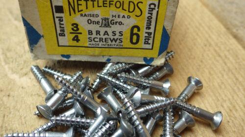 """25 x nettlefolds 3//4/"""" x 6 chrome sur laiton surélevé tête fendue vis à bois vis"""