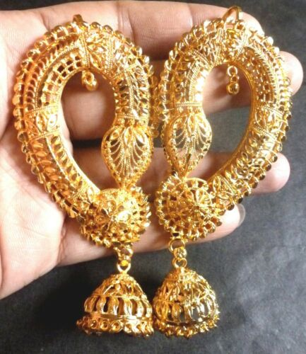 5 PAIRS TOGETHER  Indian Gorgeous 22K Gold Plated Full Ear Earrings Set