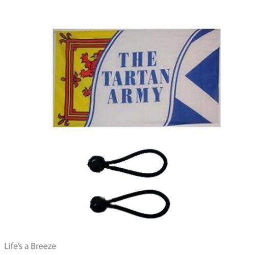 Scotland Tartan Army Flag 5x 3 ft Poles Or Windsocks Poles.With FREE  BALL TIES
