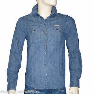 Boutons Ebay Bleue Jeans Pressions Pepe Chemise Homme 8xqZYEnwR