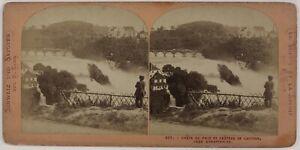 Suisse-Chute-Del-Reno-Chateau-Da-Lauffen-Foto-Stereo-P28T4n43-Vintage-Albumina